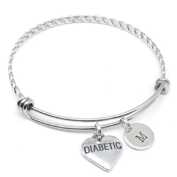 Diabetic bangle bracelet gift personalised initial disc